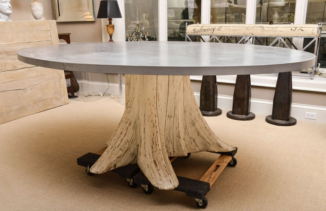 Natural Tree Trunk Dining Table With Zinc Top Image 2