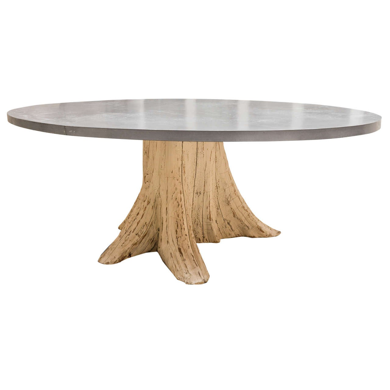 Natural Tree Trunk Dining Table With Zinc Top
