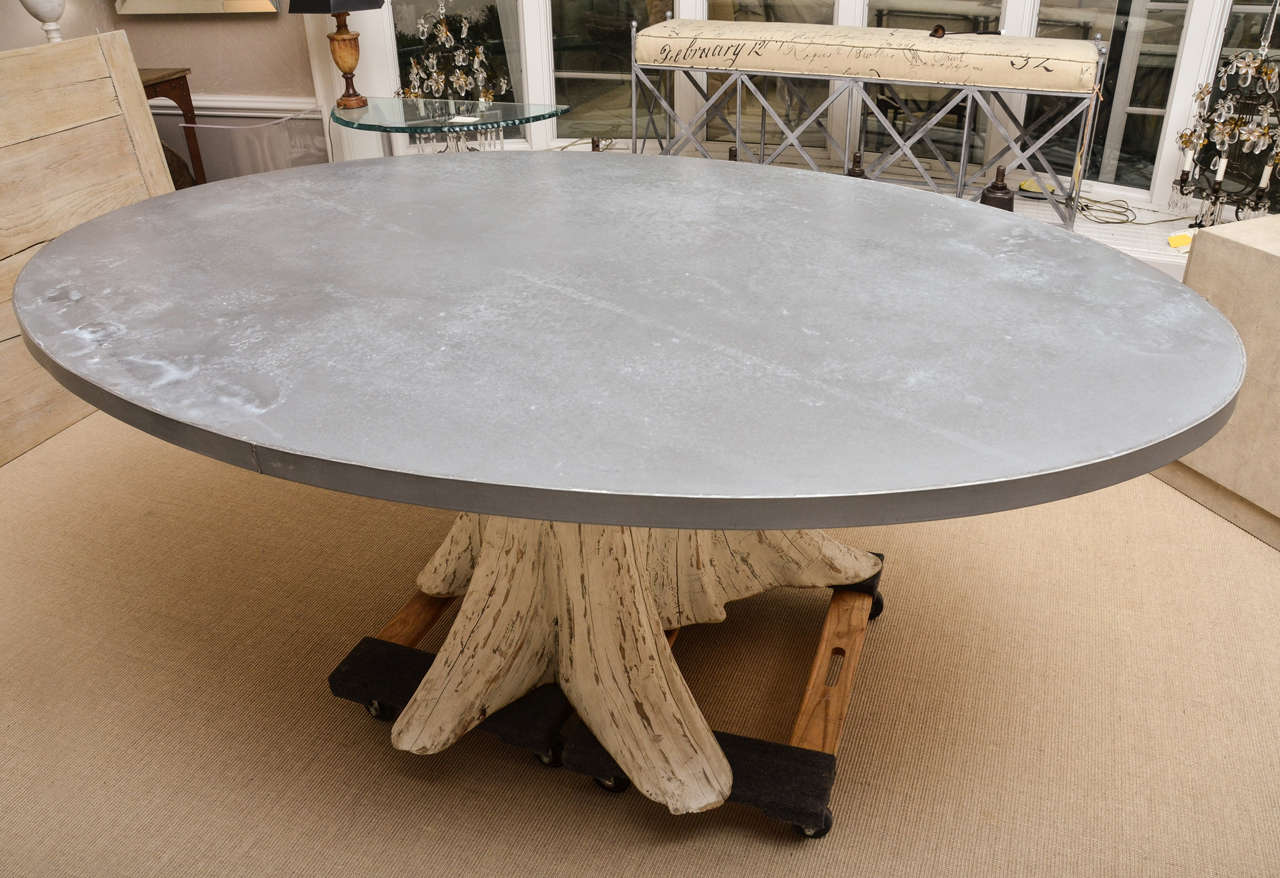 Natural tree trunk dining table with zinc top at 1stdibs for Tree trunk dining table