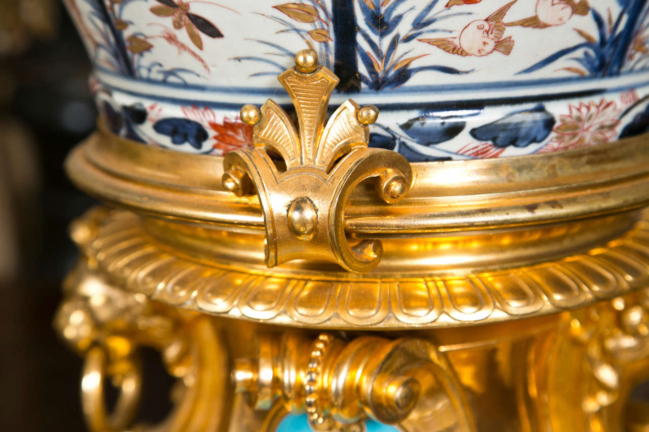 Hand-Crafted 17/18th Century Japanese Imari Vase with 19th Century Gilt Bronze Mounts For Sale