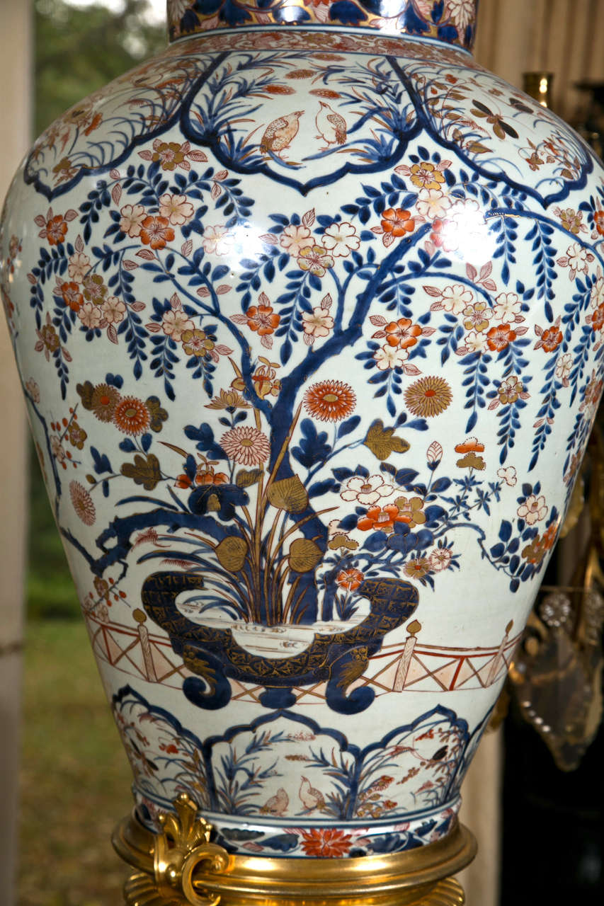 17/18th Century Japanese Imari Vase with 19th Century Gilt Bronze Mounts For Sale 1