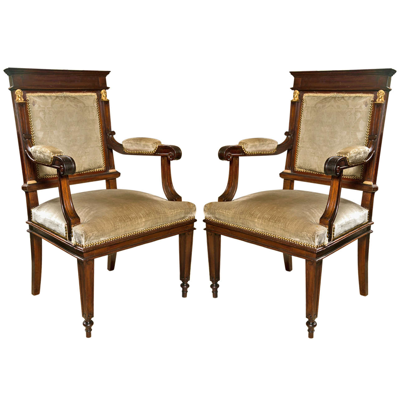 Etonnant Pair Mahogany Empire Style Open Arm Chairs For Sale