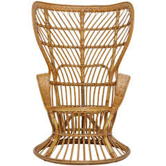 High Rattan Wingback Chair Designed by Lio Carminati and Gio Ponti