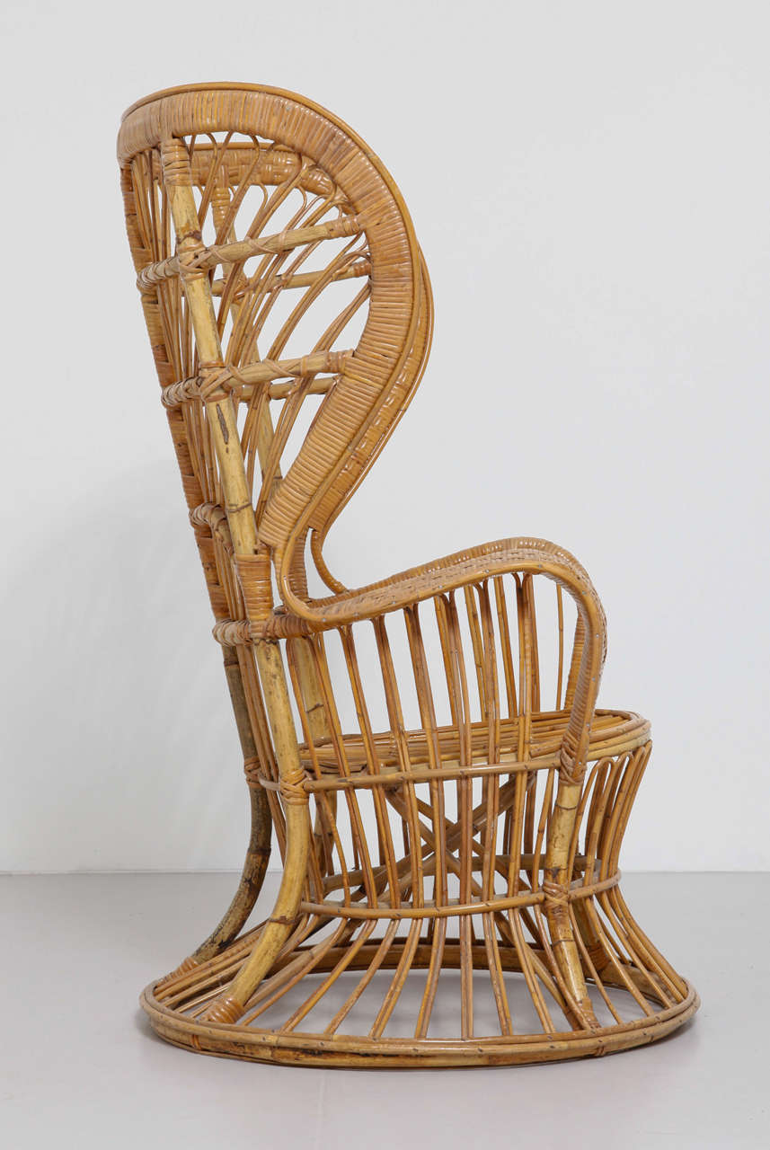 Merveilleux Mid Century Modern High Rattan Wingback Chair Designed By Lio Carminati And  Gio Ponti For