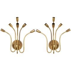 Set of Six-Arms Hammered Brass 1950s, Sputnik Sconces