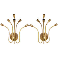 Set of Six-Arms Hammered Brass 1950s, Sputnik Sconces