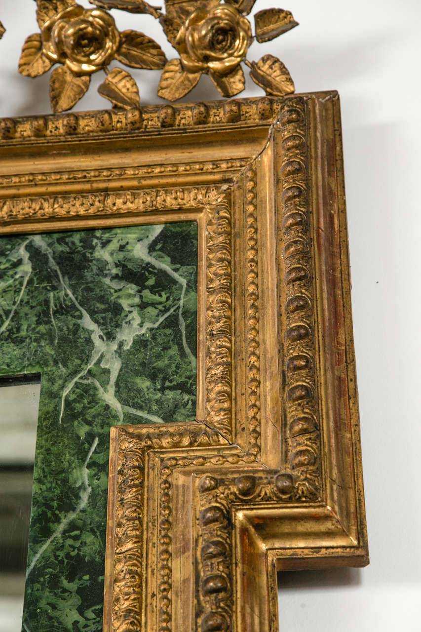 19th C Continental Faux Marble Paneling Mirror For Sale