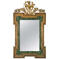 19th Century Continental Faux Marble Paneling Mirror