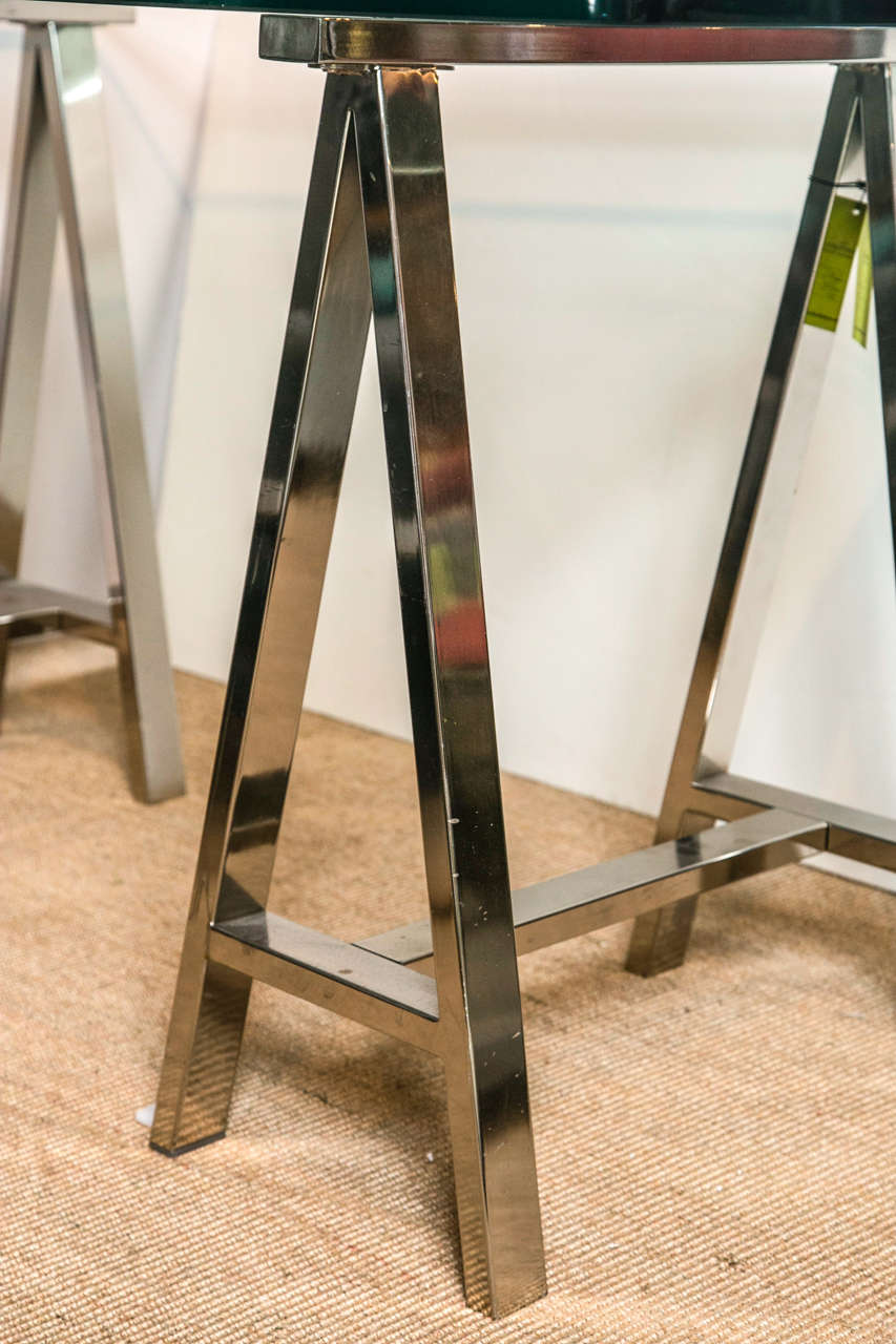 Chrome leg sawhorse glass top table at 1stdibs Sawhorse desk legs