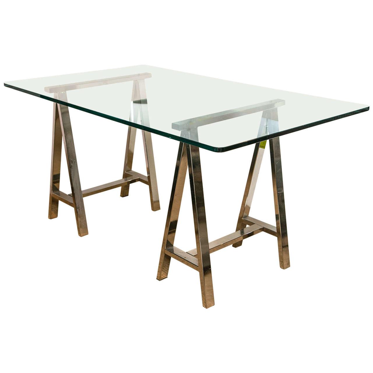 Chrome Leg Sawhorse Glass Top Table 1
