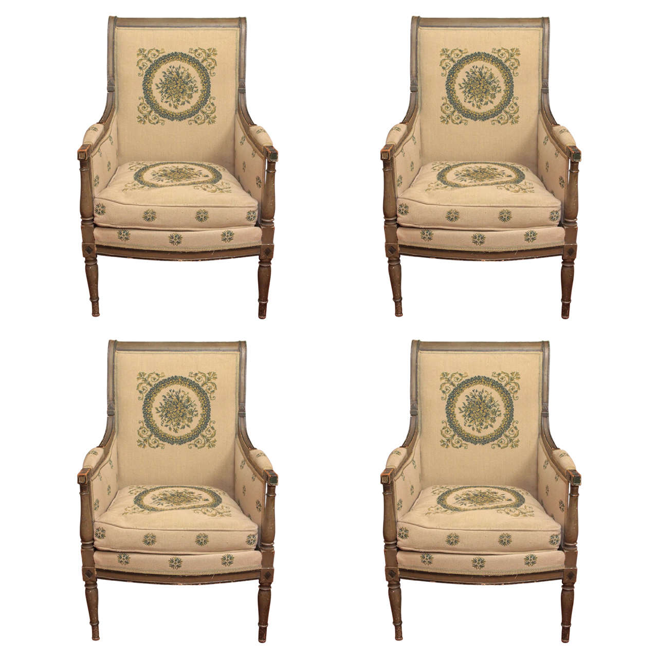 Set Of Four Directoire Bergeres At 1stdibs