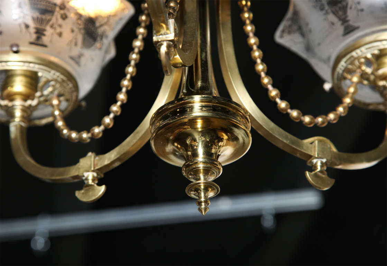 19th Century Victorian Antique Brass Light Fixture For Sale