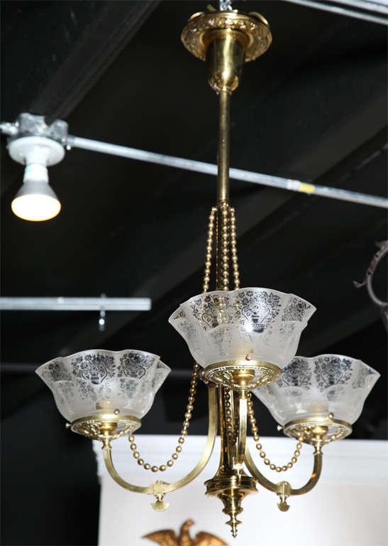 Victorian Antique Brass Light Fixture For Sale 4