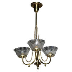 Victorian Antique Brass Light Fixture