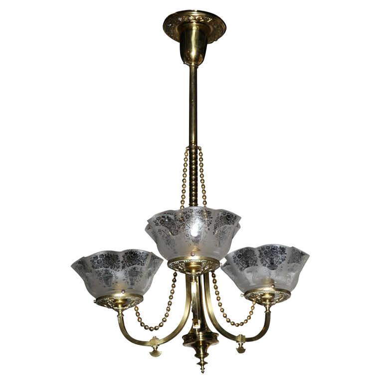 Victorian Antique Brass Light Fixture For Sale
