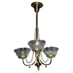 Victorian Antique Brass Light Fixture