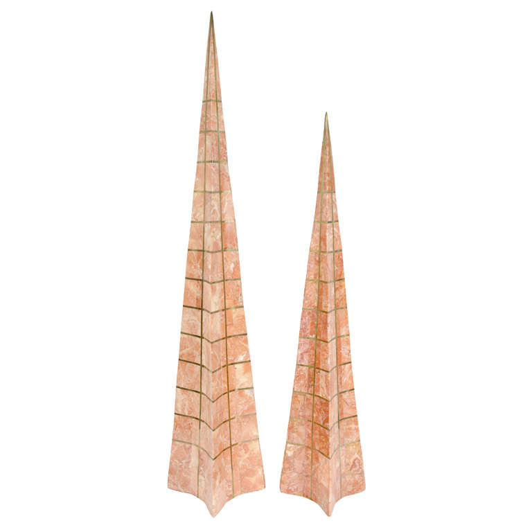 Pair of Bronze Inlay and Stone Obelisks by Casa Bique