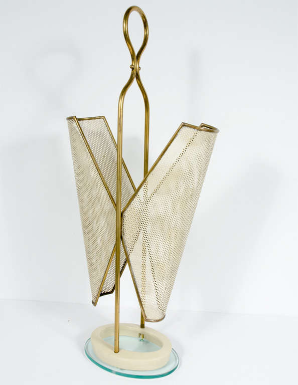 Italian Brass, Perforated Metal and Glass Umbrella Stand 3