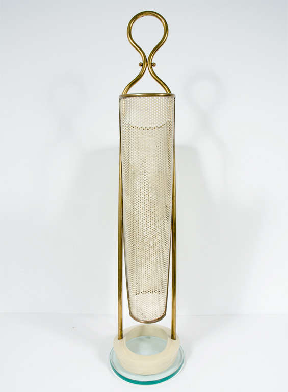 Italian Brass, Perforated Metal and Glass Umbrella Stand 4