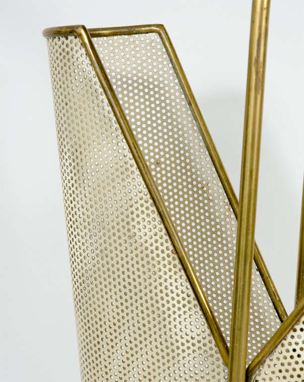 Italian Brass, Perforated Metal and Glass Umbrella Stand 8