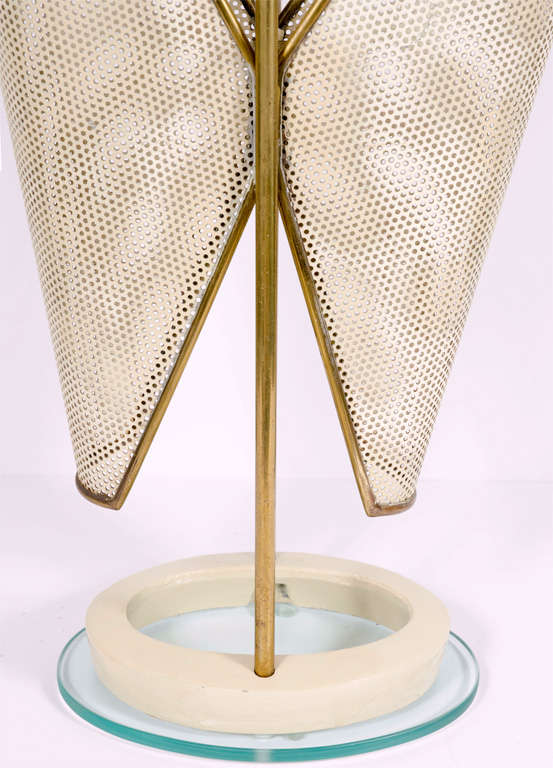 Italian Brass, Perforated Metal and Glass Umbrella Stand 9
