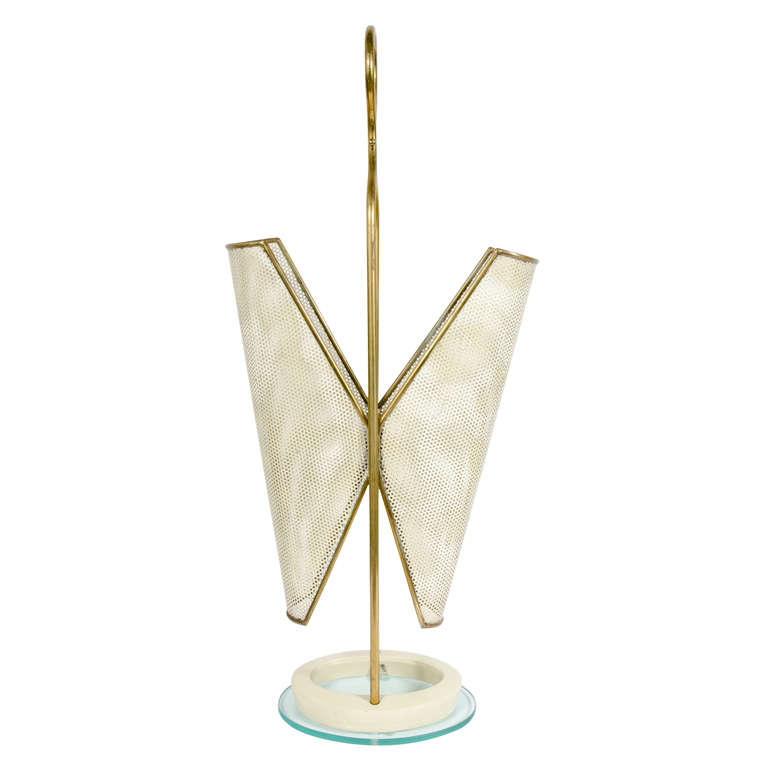 Italian Brass, Perforated Metal and Glass Umbrella Stand