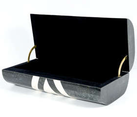 Black & White Stone Veneered Jewelry Box by Maitland-Smith, Ltd. thumbnail 10