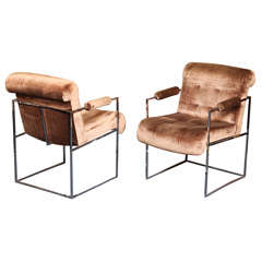 PAIR Milo Baughman Chrome & Velvet Arm Chairs