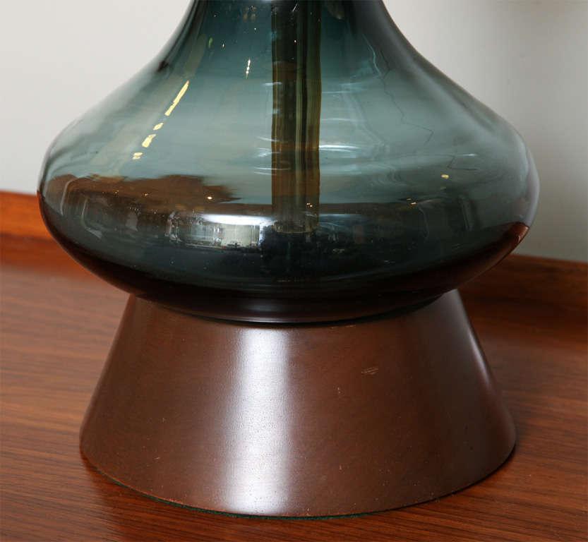 American Sensous 1950s Blenko Blown Glass Table Lamp For Sale
