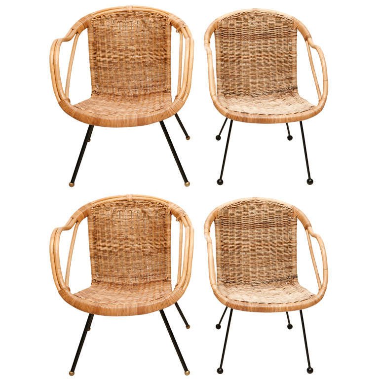 set of four arthur umanoff rattan chairs at 1stdibs