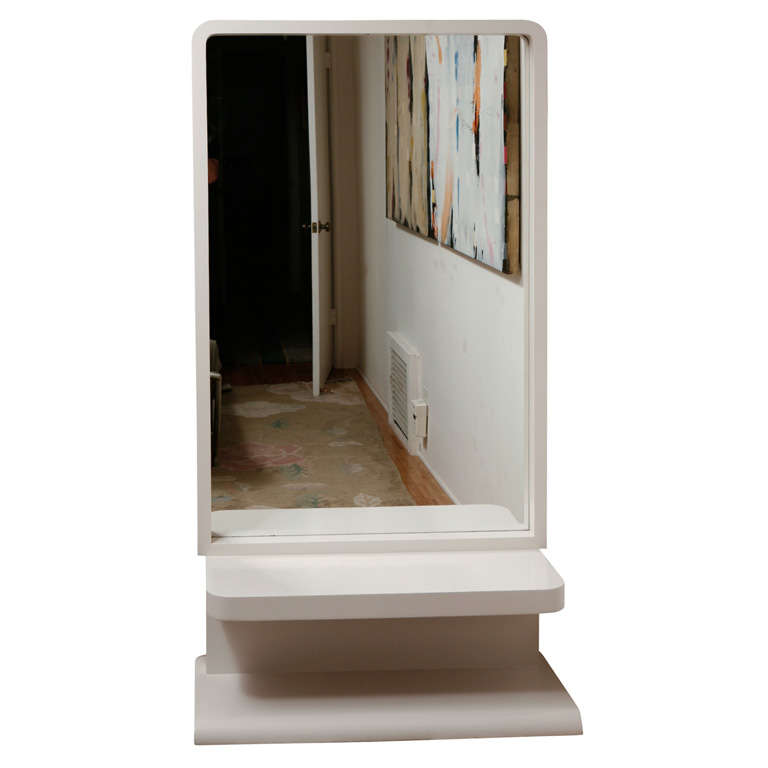 Vintage white lacquer floor mirror at 1stdibs for Vintage floor length mirror