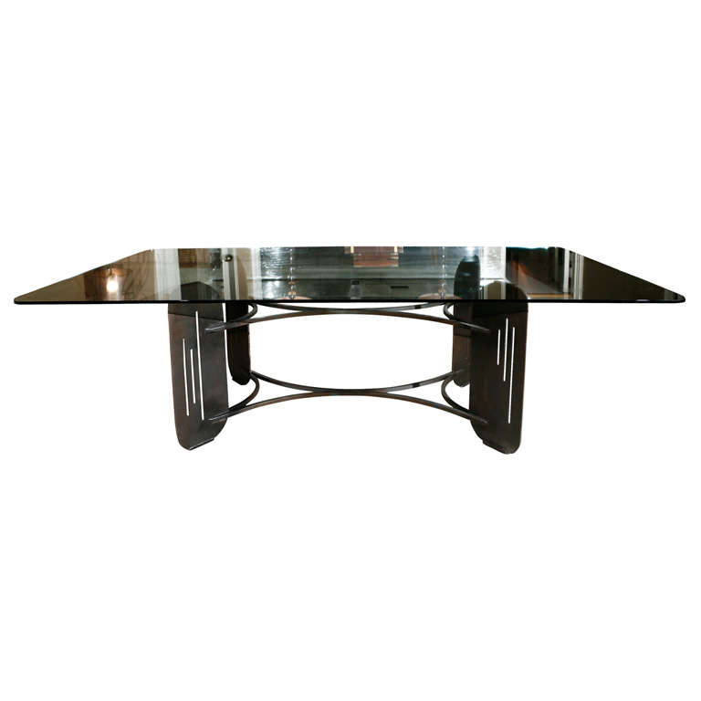Large Glass Topped Dining Table With Abstract Metal Base At 1stdibs