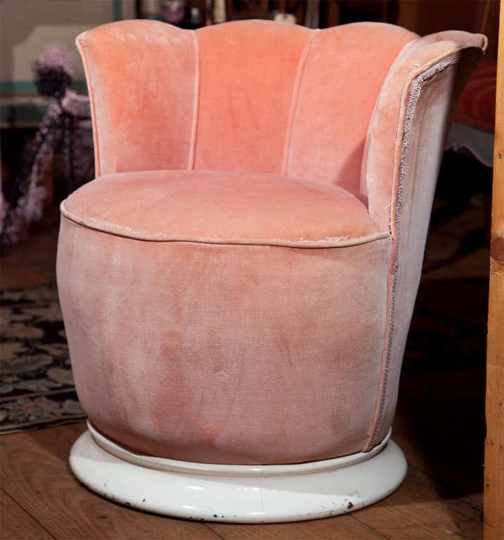 Charming little French velvet boudoir chair on a round wood base.