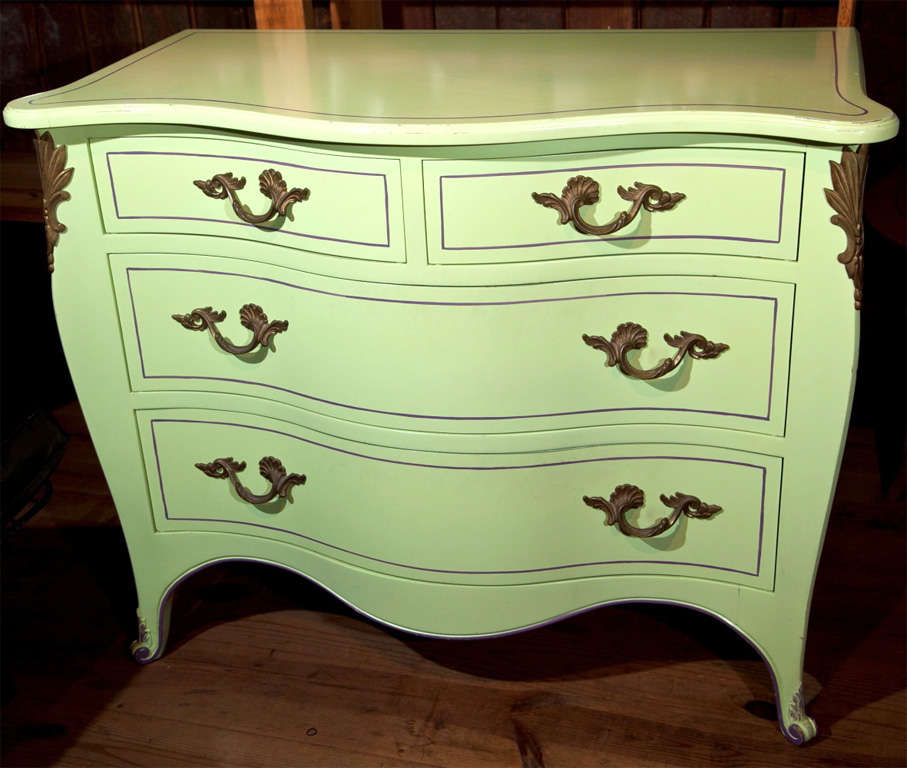 Funny Girl? Chartreuse and purple pinstriped 60's inspired commodes. The high quality craftsmanship suggests that this great pair of chests may have been custom made pieces. The rear feet are as detailed as the front. Divine coloring!