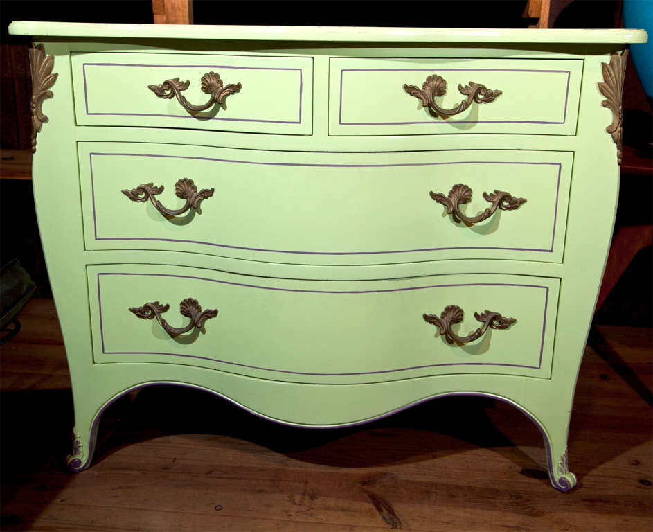 Italian Pair of Chartreuse Commodes For Sale
