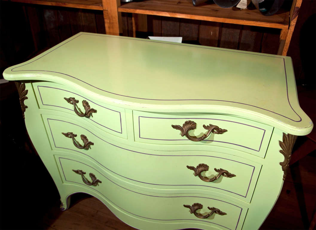 Mid-20th Century Pair of Chartreuse Commodes For Sale