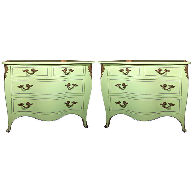Pair of Chartreuse Commodes For Sale