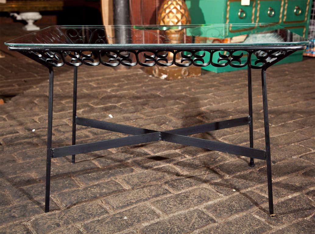 American Arthur Umanoff Wrought Iron Table For Sale