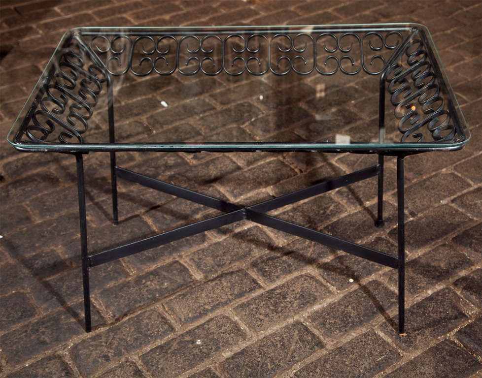 Arthur Umanoff Wrought Iron Table In Excellent Condition For Sale In Stamford, CT