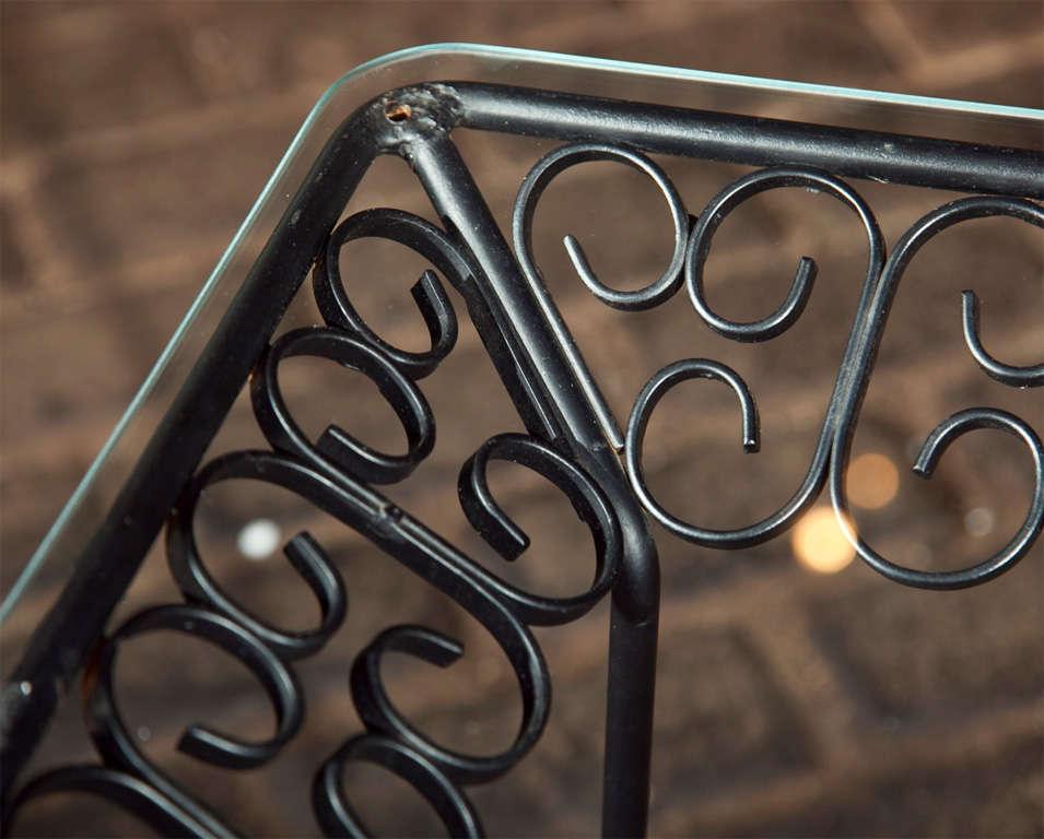Glass Arthur Umanoff Wrought Iron Table For Sale