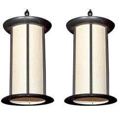 Pair of Wood Pendant Lights