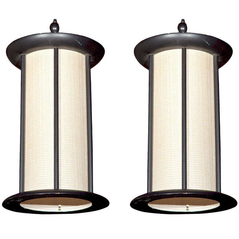 Pair of Wood Pendant Lights For Sale