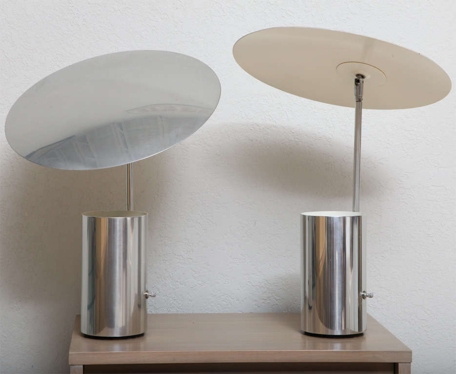 Rare pair of chrome half nelson lamps by george nelson for Half nelson table lamp