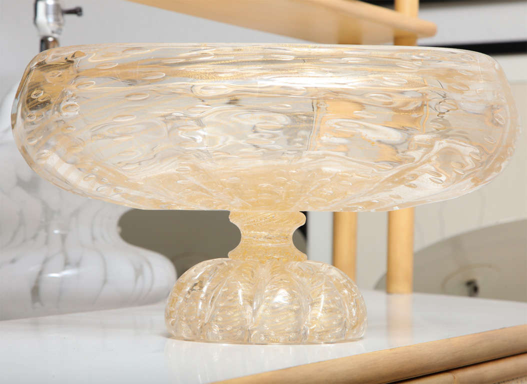 Large donghia murano glass and gold leaf centerpiece bowl