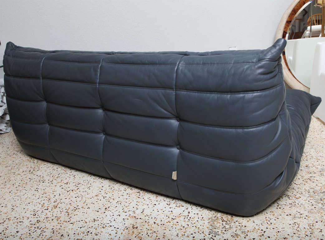 Grey Leather Togo Sofa By Michel Ducaroy For Ligne Roset At 1stdibs