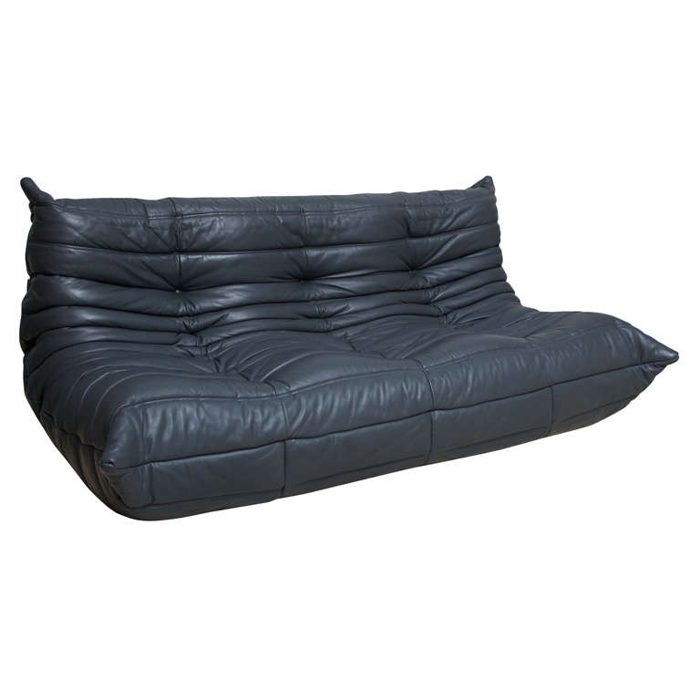 Grey Leather Togo Sofa By Michel Ducaroy For Ligne Roset 1