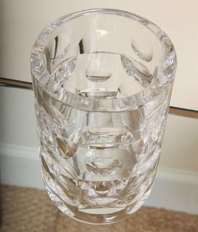 Mid-Century Modern Signed Modernist Crystal Glass Vase by Mona Morales Schildt for Orrefors For Sale