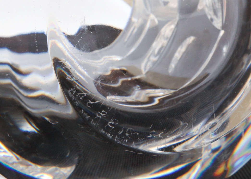 Swedish Signed Modernist Crystal Glass Vase by Mona Morales Schildt for Orrefors For Sale