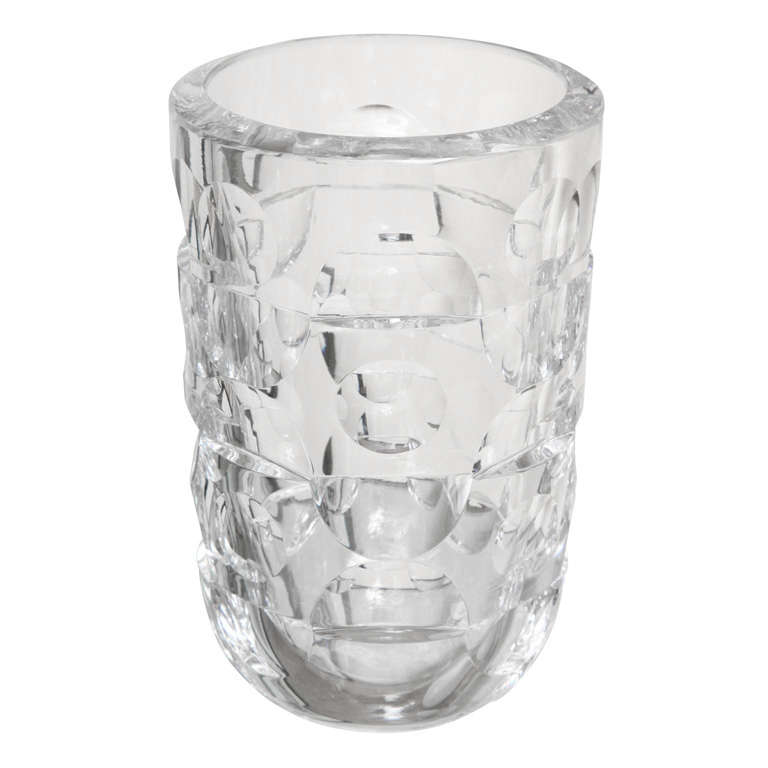 Signed Modernist Crystal Glass Vase by Mona Morales Schildt for Orrefors For Sale