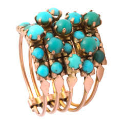 Five Banded Prong Set Turquoise and 14 K Rose Gold Ring